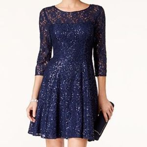 Fit and Flare Dress in Navy Blue